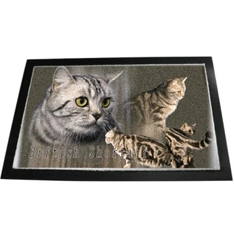 Cats Shop Designer Fussmatte Britisch Kurzhaar Katze Silber Tabby